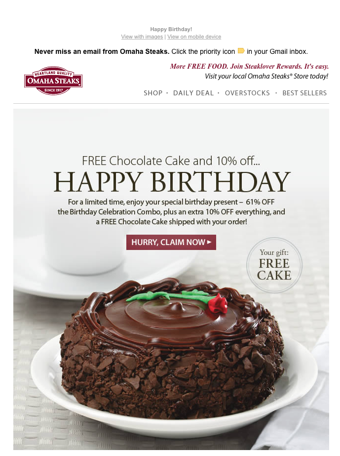 Engagement Email - Omaha Steaks